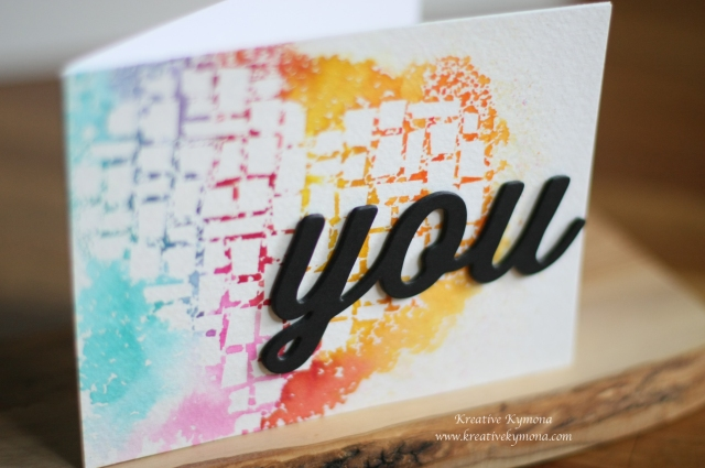 Watercolor Love You close up