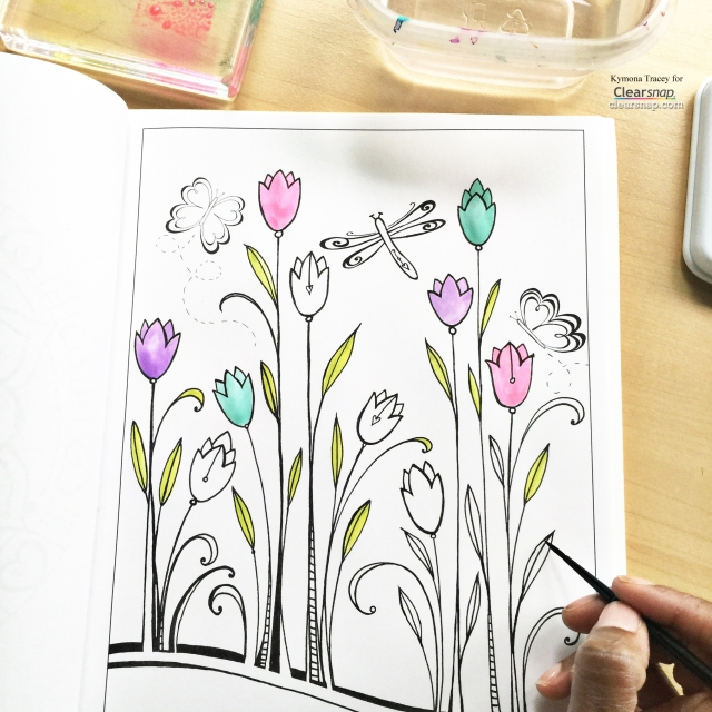 Watercoloring an Adult Coloring Book using Colorbox Dye Ink ...