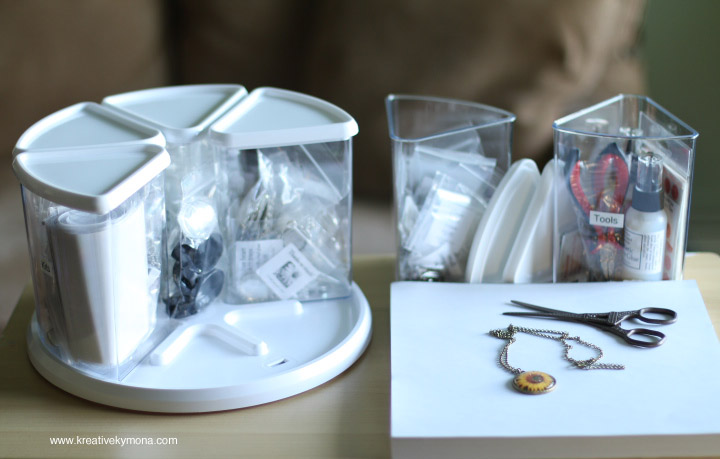 Using Deflectos Rotating Carousel Organizer for Jewelry Storage