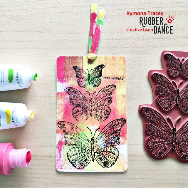 rubber dance stamp butterflies