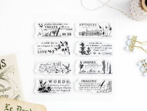 Abstract Floral and Vintage Words Clear Stamps
