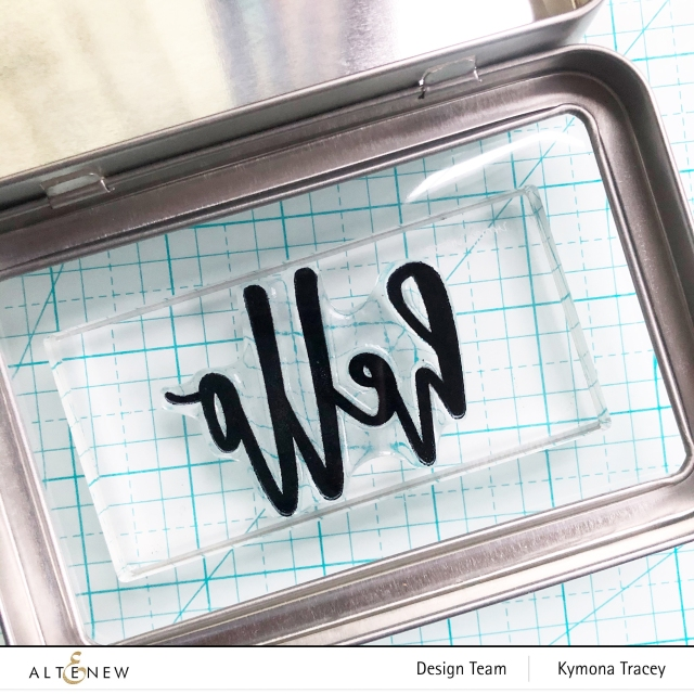 Altenew Hello and Hugs stamp set: stamped on plastic