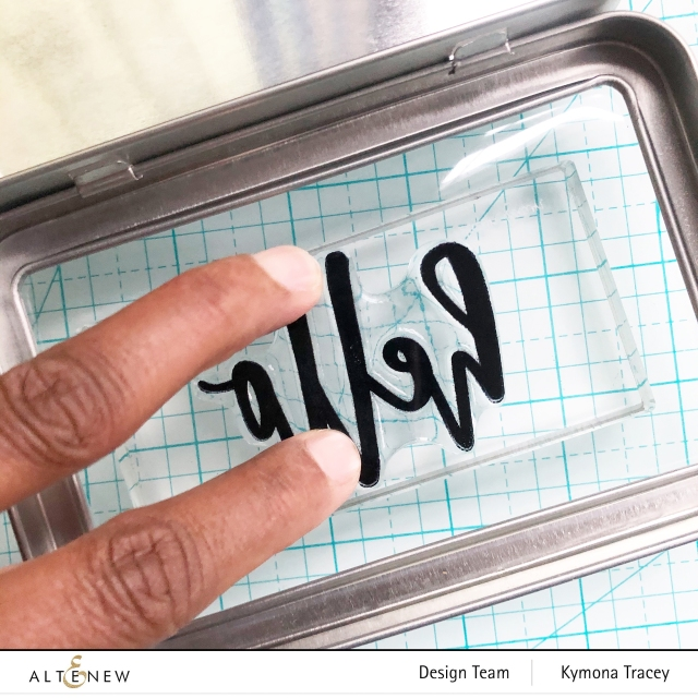 Altenew Hello and Hugs stamp set: stamp on plastic