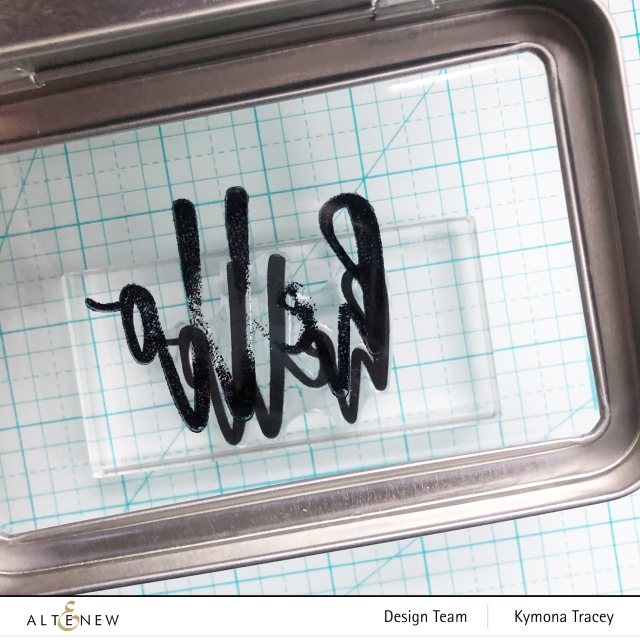 Altenew Hello and Hugs stamp set: stamp on plastic