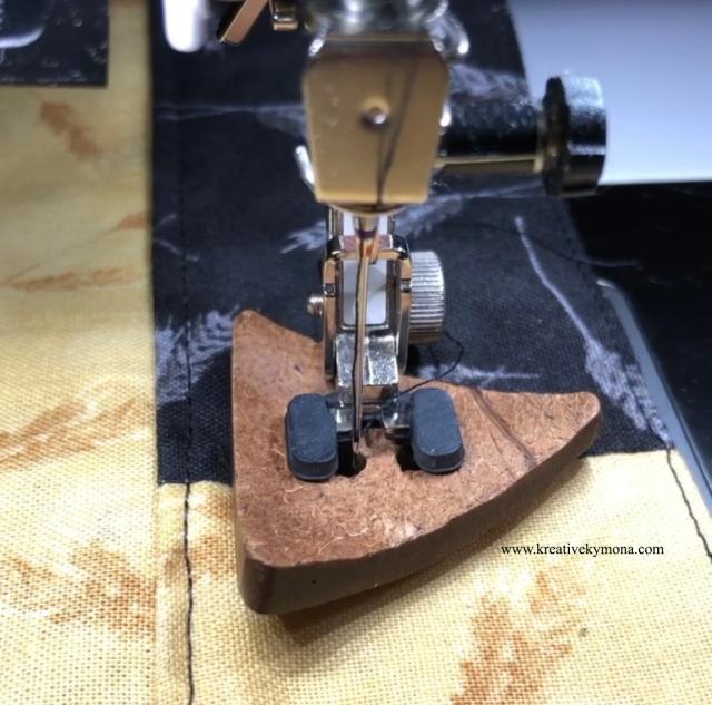 machine sew the button