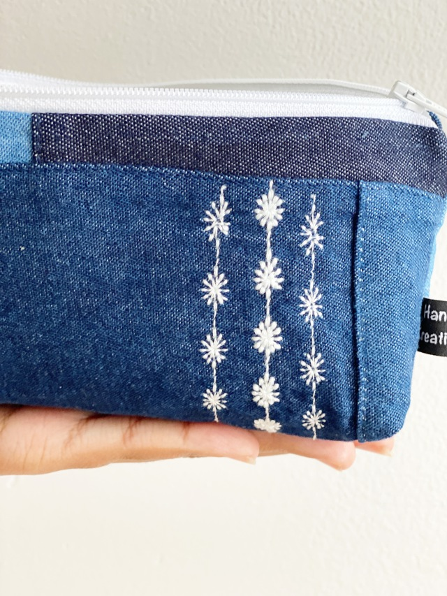 Decorate Pouch with Different Thread Weights: Finished Product