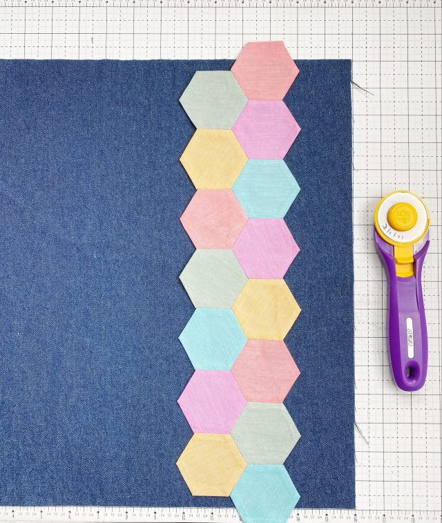 English Paper Piecing Hexagons:Attach hexagon to the denim fabric