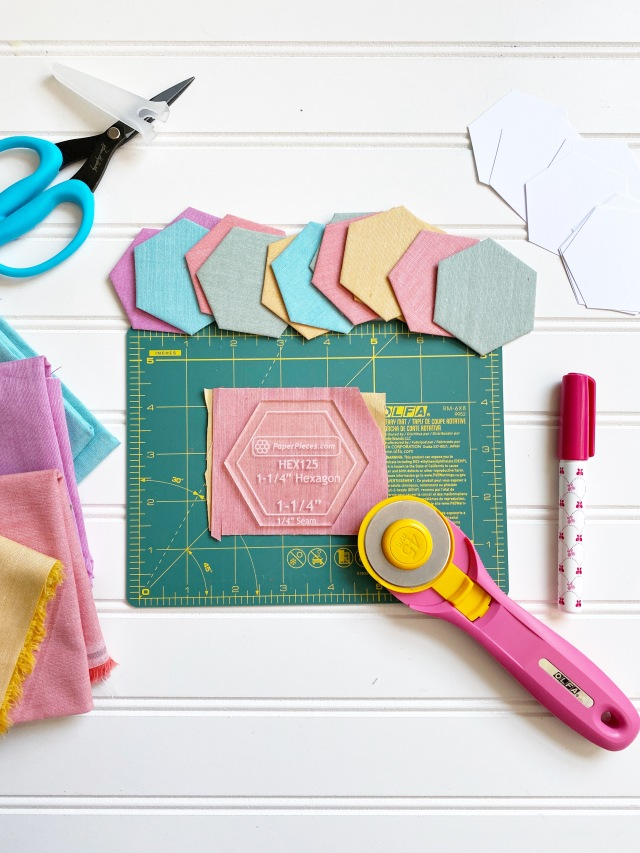 English Paper Piecing Hexagons: Materials