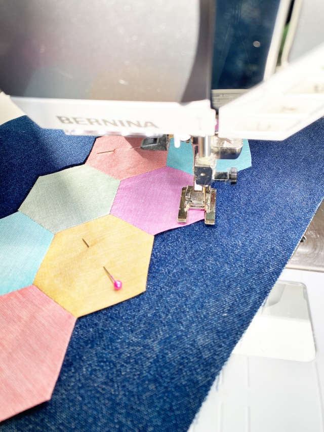 English Paper Piecing Hexagons: Attach hexagon to the denim fabric