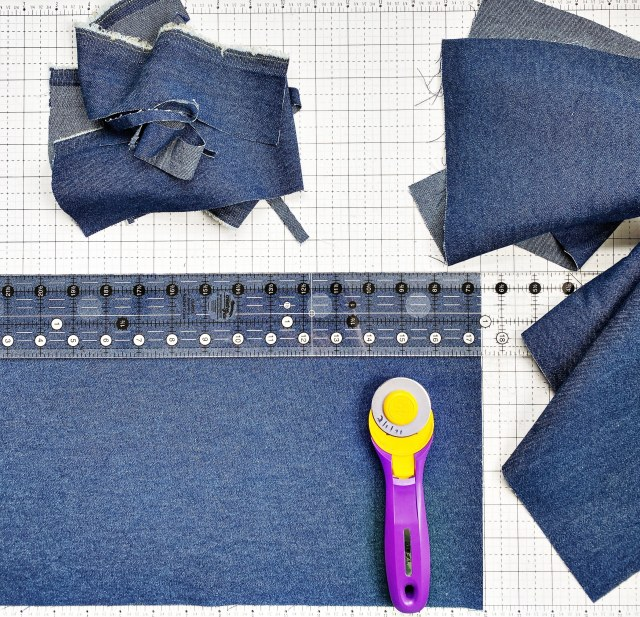 English Paper Piecing Hexagons: Cut the denim fabric